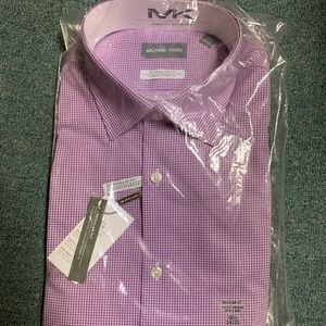MK Mens Purple Check Dress Shirt